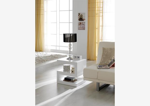 acheter votre biblioth que ouverte forme originale laqu blanc chez simeuble. Black Bedroom Furniture Sets. Home Design Ideas