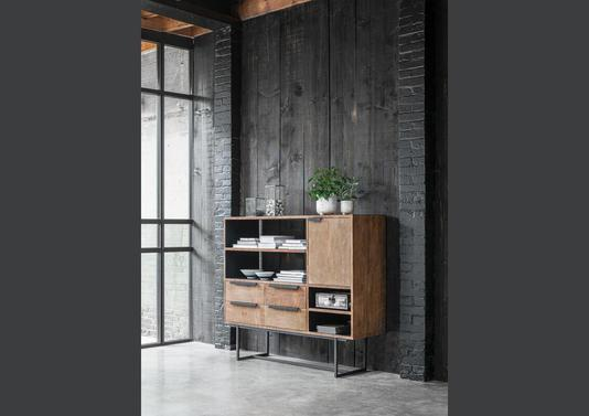 Buffet style industriel 1 porte, 4 niches, 4 tiroirs