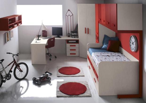 acheter votre bureau d 39 angle contemporain rouge et blanc. Black Bedroom Furniture Sets. Home Design Ideas