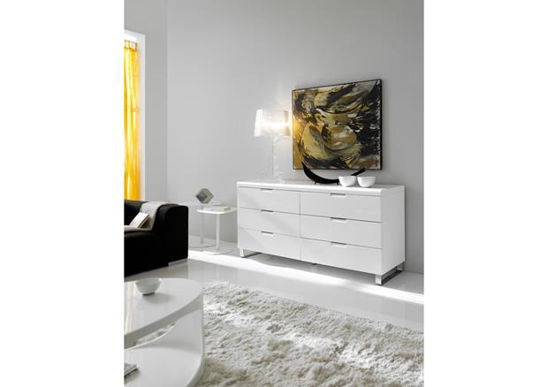acheter votre commode cotemporaine argent laqu e blanche 6 tiroirs chez simeuble. Black Bedroom Furniture Sets. Home Design Ideas