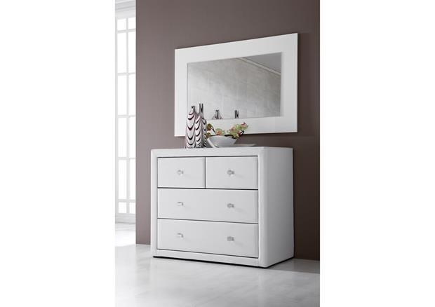 acheter votre commode moderne 3 tiroirs laqu e blanche chez simeuble. Black Bedroom Furniture Sets. Home Design Ideas