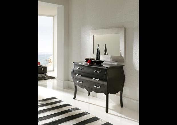 acheter votre commode style baroque 3 tiroirs noire laqu e. Black Bedroom Furniture Sets. Home Design Ideas