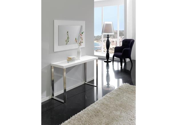 acheter votre console moderne laqu e blanche pieds chrom. Black Bedroom Furniture Sets. Home Design Ideas