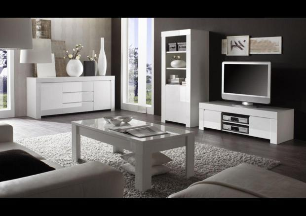 acheter votre meuble tv bas 2 portes laqu blanc chez simeuble. Black Bedroom Furniture Sets. Home Design Ideas