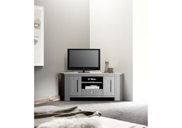 acheter votre meuble t l contemporain en ch ne gris niche portes tiroir chez simeuble. Black Bedroom Furniture Sets. Home Design Ideas