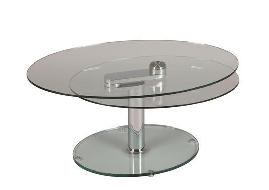 Table basse ovale 2 plateaux verres amovibles