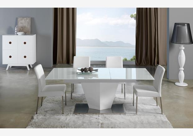 acheter votre table moderne pied central croix laqu e blanche chez simeuble. Black Bedroom Furniture Sets. Home Design Ideas