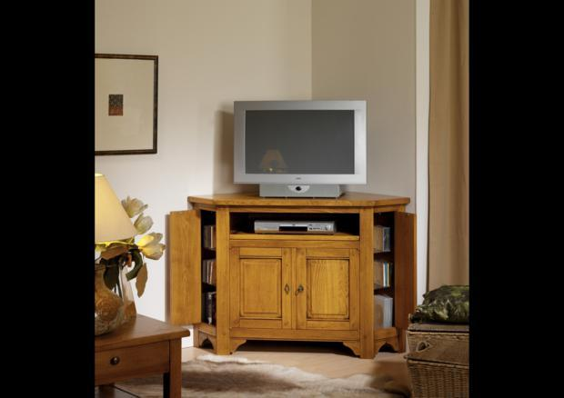 acheter votre meuble tv d 39 angle 2 portes 1 tirette chez. Black Bedroom Furniture Sets. Home Design Ideas